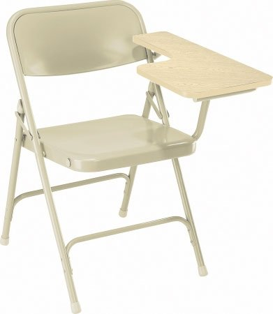 National Public Seating 5201L Folding Chair with Left Tab Arm, Oak/Bge 5201L