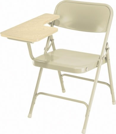 Folding Chair with Right Tab Arm, Oak/Beige