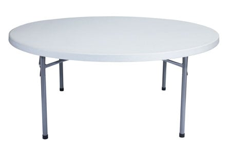 "71"" Round Table with Folding Legs"