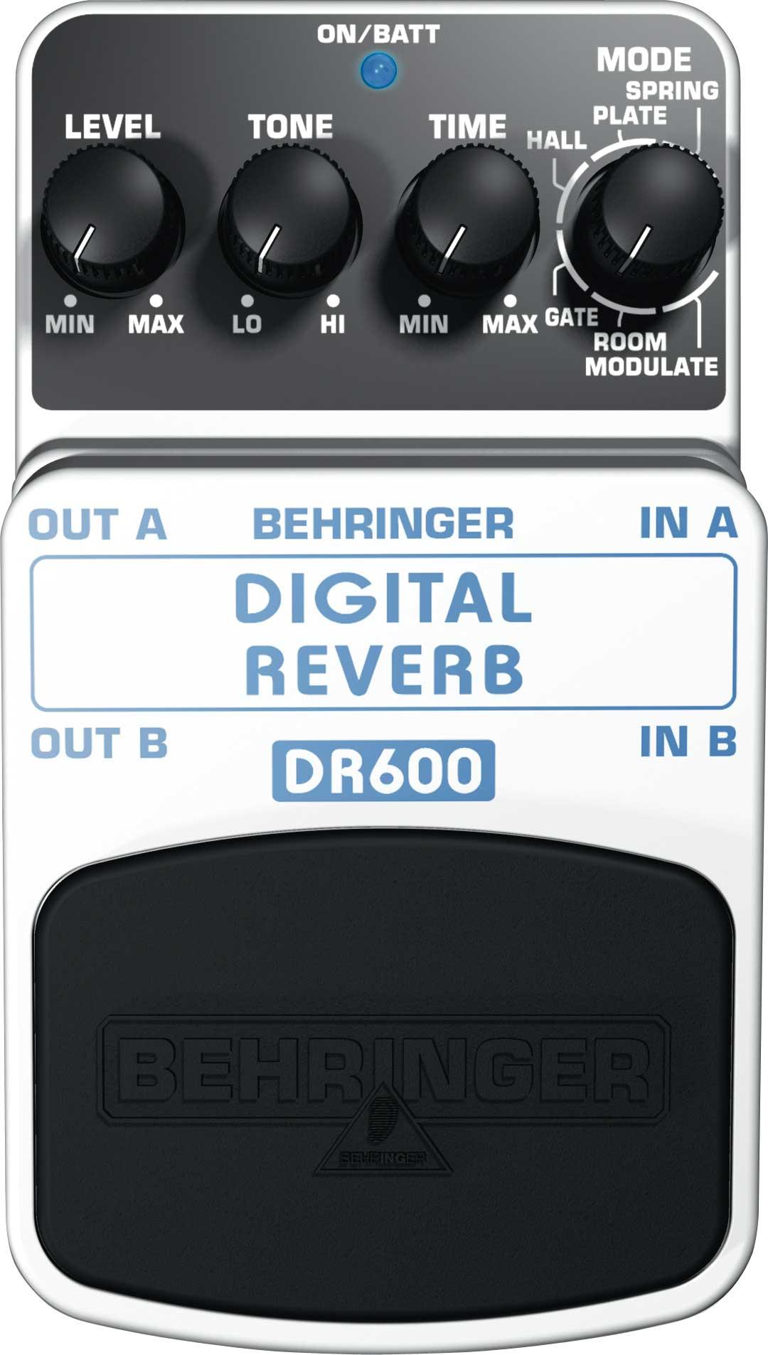 Behringer DR600-REVERB Digital Stereo Reverb Effects Guitar Pedal DR600-REVERB