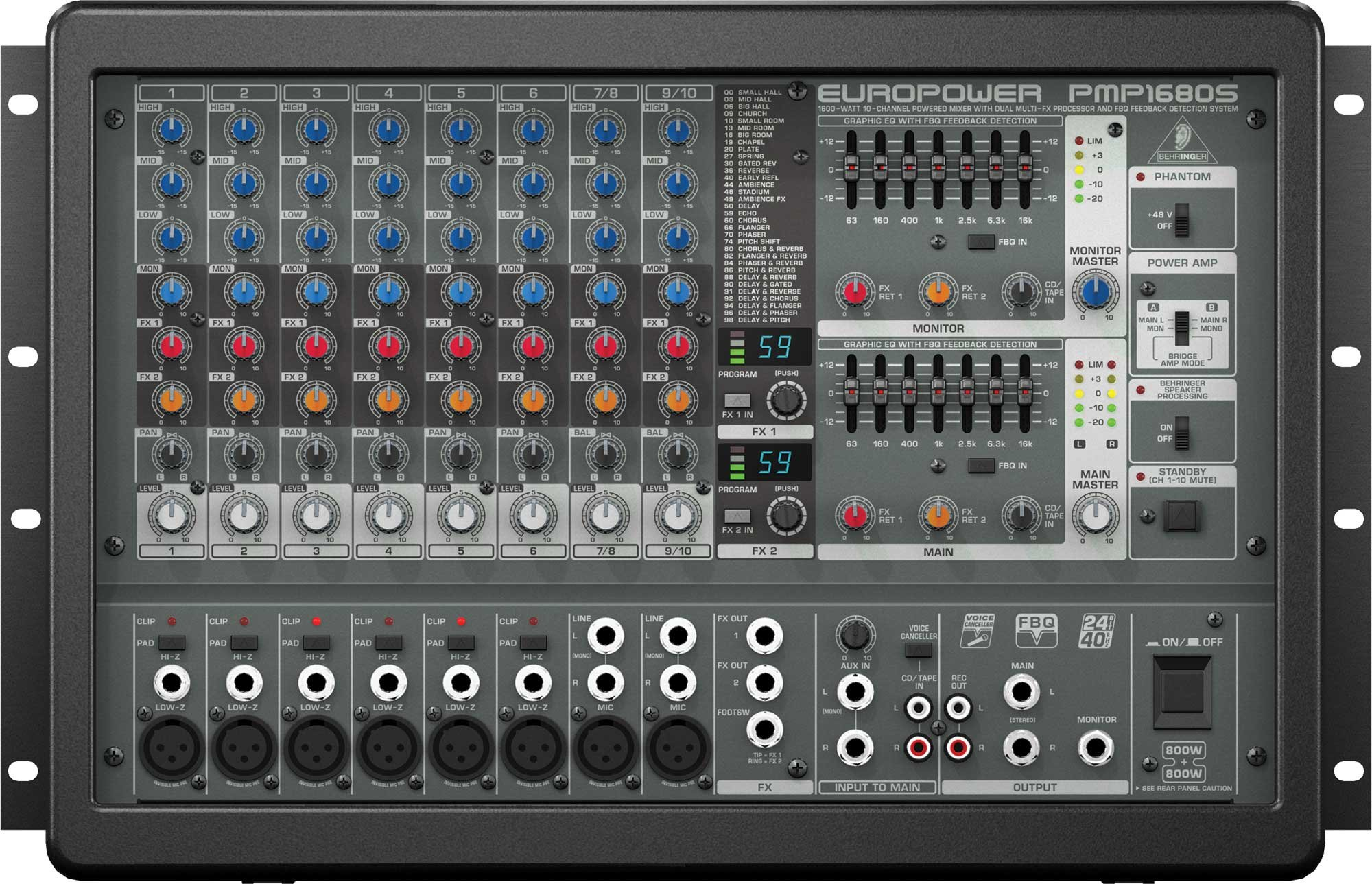 Behringer PMP1680S Powered Mixer, 10 Channel (8 mic inputs), 2 x 800W Stereo PMP1680S