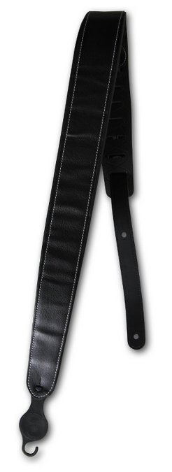 "2"" Wide Black Leather Deluxe Padded Guitar Strap with Contrast Stitch"