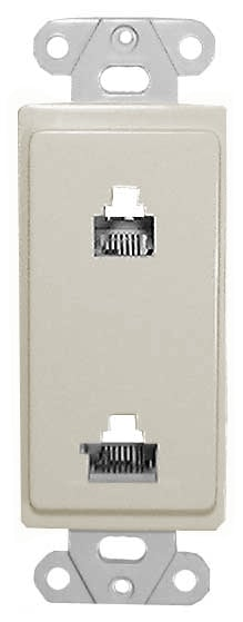 Designer Wall Plate (Dual 6 & 8 Conductor (6P6C / 8P8C) for Voice & Data) in Ivory