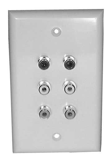Solder Type Wall Plate with 6x RCA Jacks (2x Red, 2x White, 2x Yellow)
