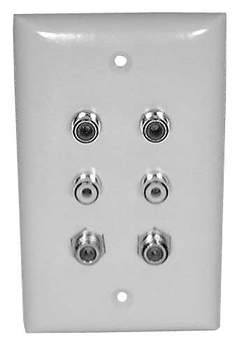 White Wall Plate with Gold RCA (4x) and F-81 (2x) Jacks