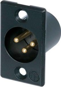 3-Pin XLR Male Rectangular Panel Connector (Black)