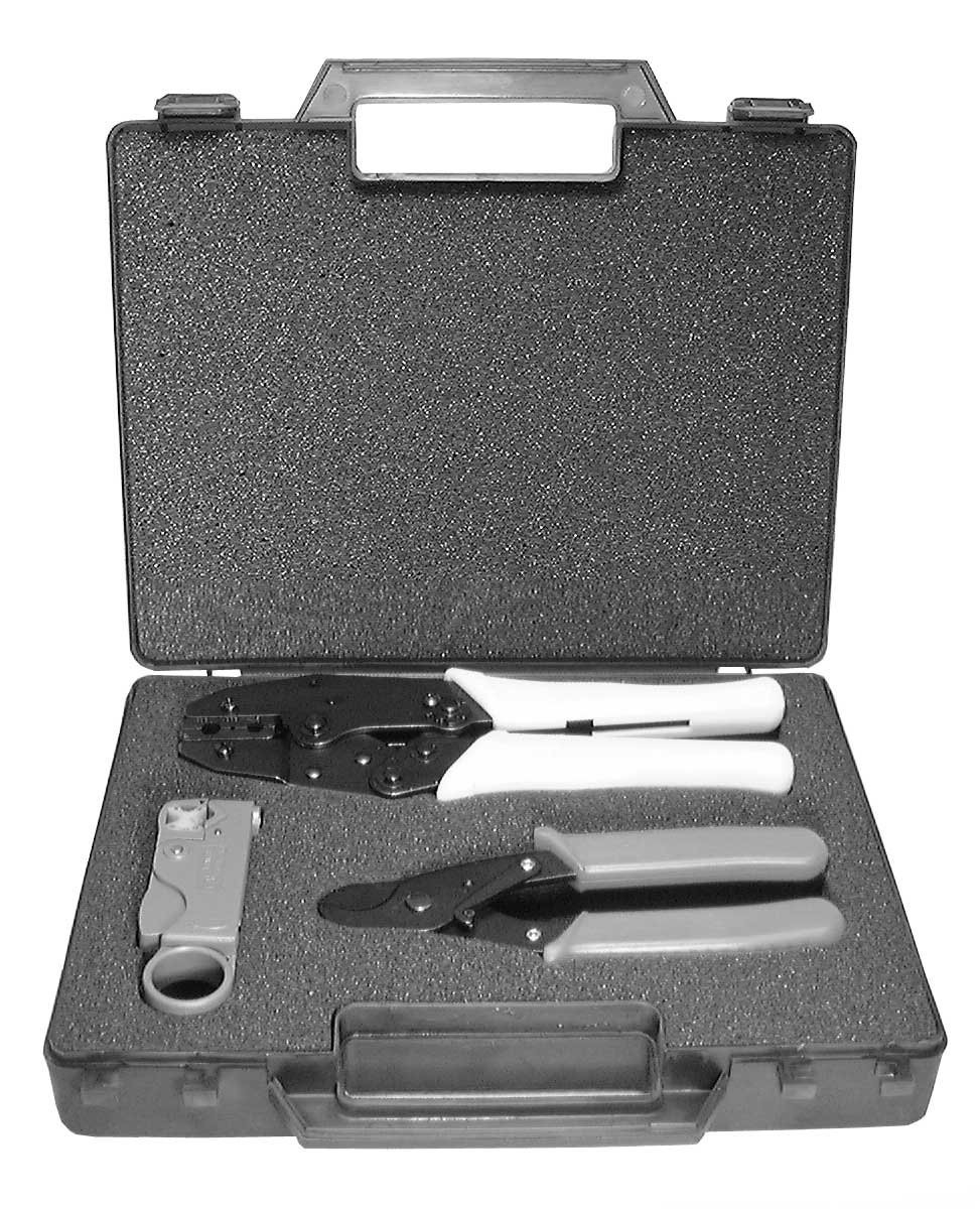 Coaxial Tool Kit: Crimper, Stripper, & Cutter (for RG58, RG59, RG62, RG6 Cable)