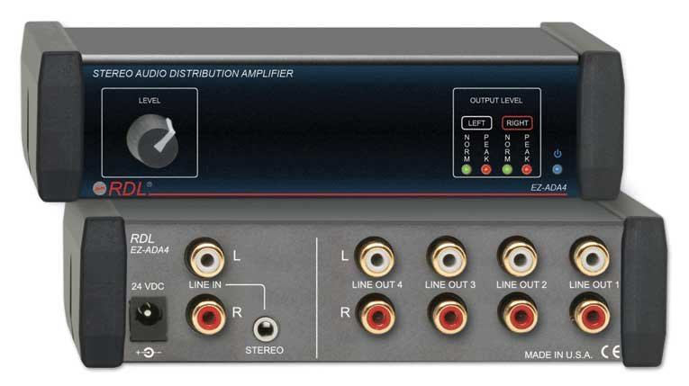 1x4 Stereo Distribution Amplifier with Power Supply