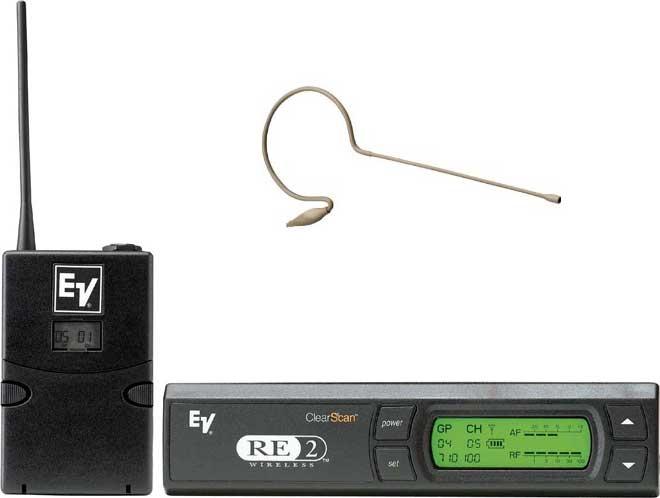 Wireless Bodypack System with RE97 Omnidirectional Condenser Headworn MiniMic in Light Beige