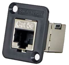 Panel-Mount Cat5e FeedThru Shielded Connector