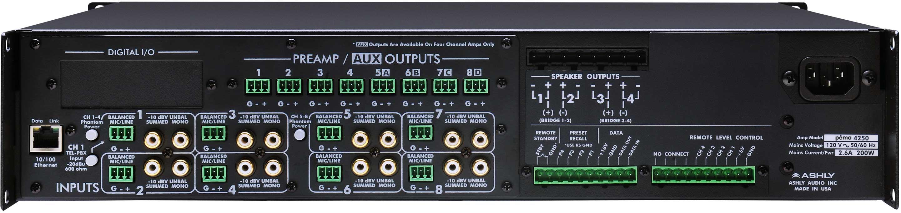 Power Amplifier, 4x125W @ 70V, w/8x8 DSP Matrix