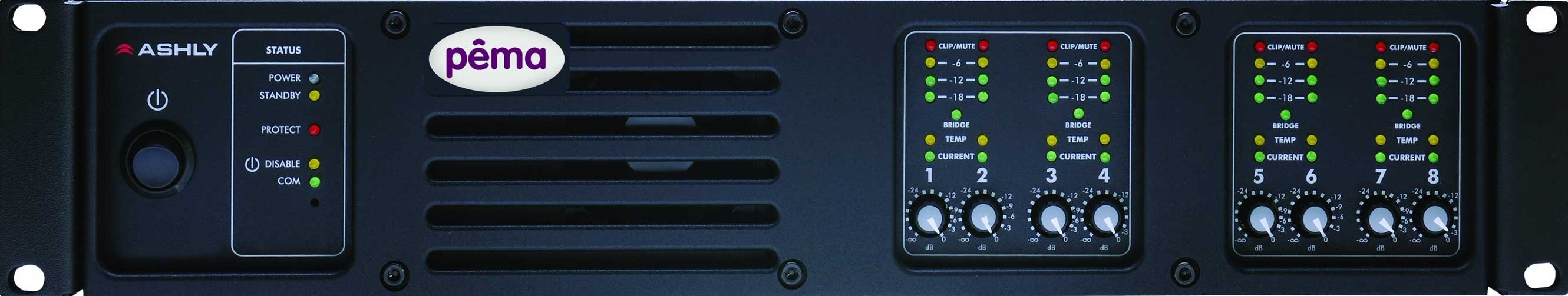 Ashly PEMA8250 Power Amplifier, 8x250W @ 4 Ohm, w/8x8 DSP Matrix PEMA8250