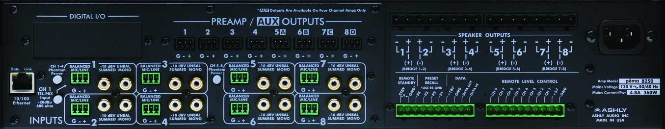 Power Amplifier, 8x250W @ 70V, w/8x8 DSP Matrix