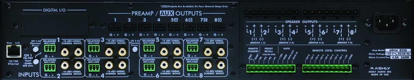 Ashly PEMA8250C Power Amplifier, 8x250W @ 4 Ohm, w/8x8 DSP Matrix, CobraNet Added PEMA8250C
