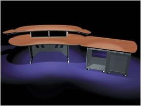 """84"""" Edit Center Desk with OverBridge, Pepperstone Top Finish"""