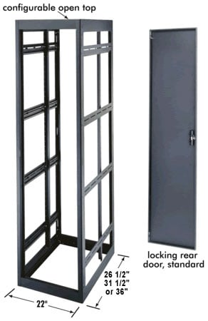 """40-Space, 36"""" D Rack (with Black Rear Door)"""
