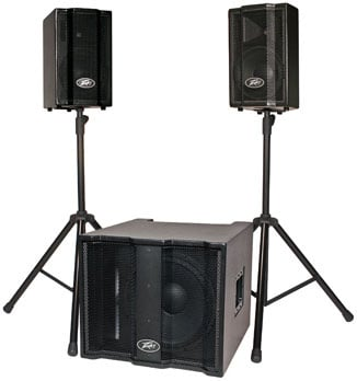 """Portable PA System with 2 Satellite Speakers, 1x15"""" Subwoofer, Cables, Cover"""
