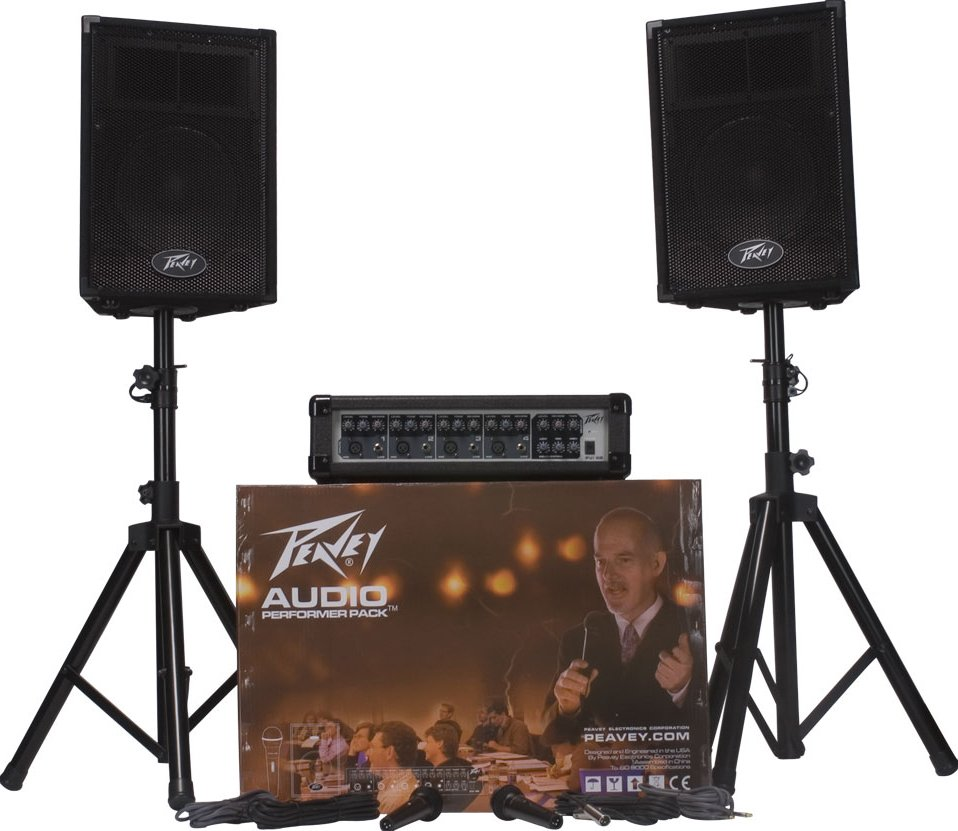 "Portable PA System - Mixer, 2x 10"" Speakers, 2 Mics, 2 Speaker Stands"