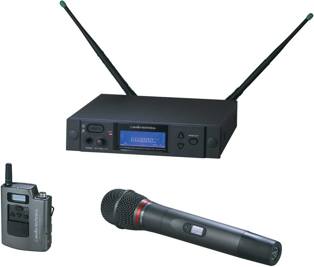 Wireless Bodypack/Handheld Dual Microphone System, AEW-T4100a Cardioid Dynamic Mic, Band C: 541.500 to 566.375 MHz