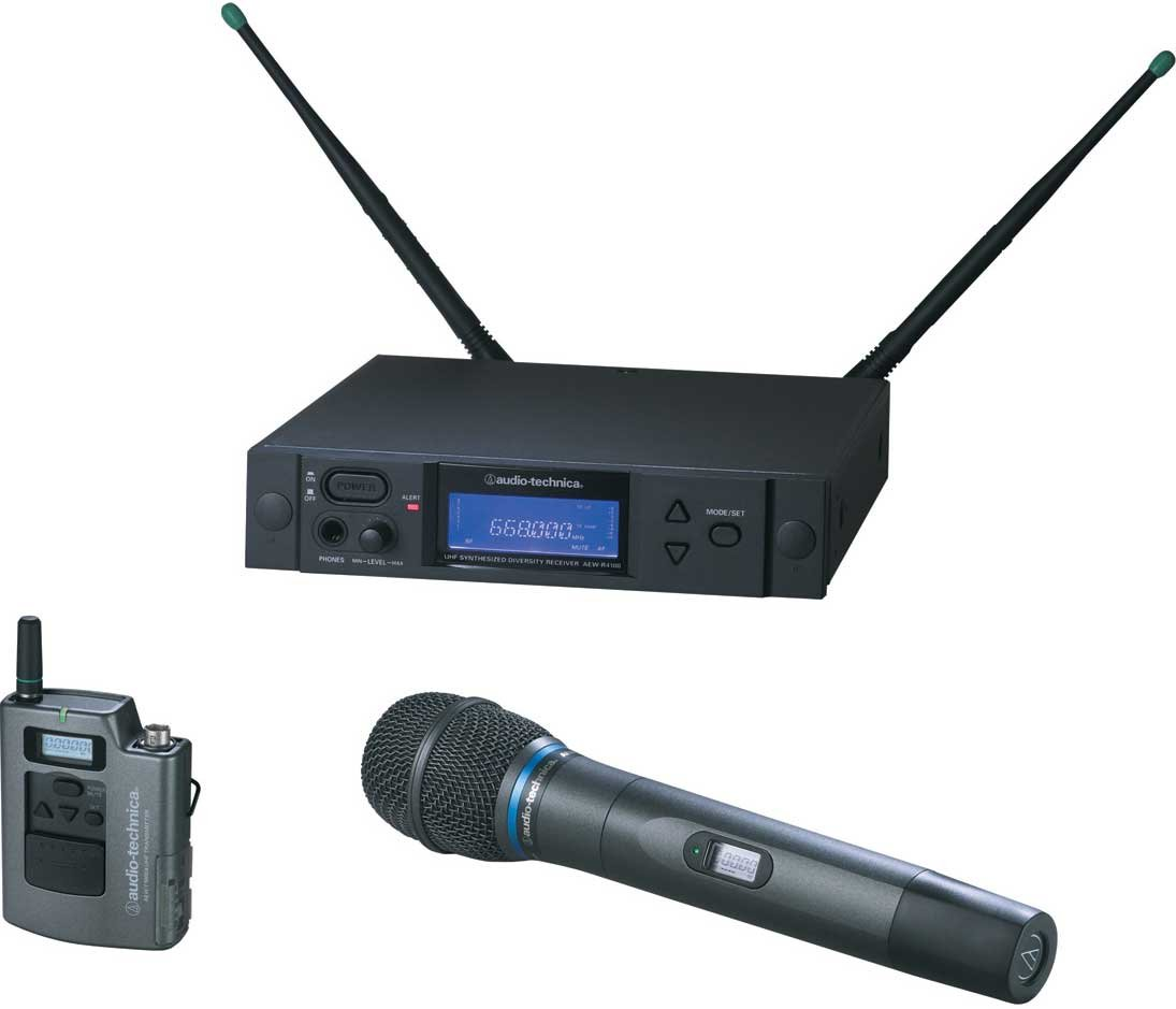 Wireless Bodypack/Handheld Dual Microphone System, AEW-T5400a Cardioid Condenser Mic, Band C: 541.500 to 566.375 MHz