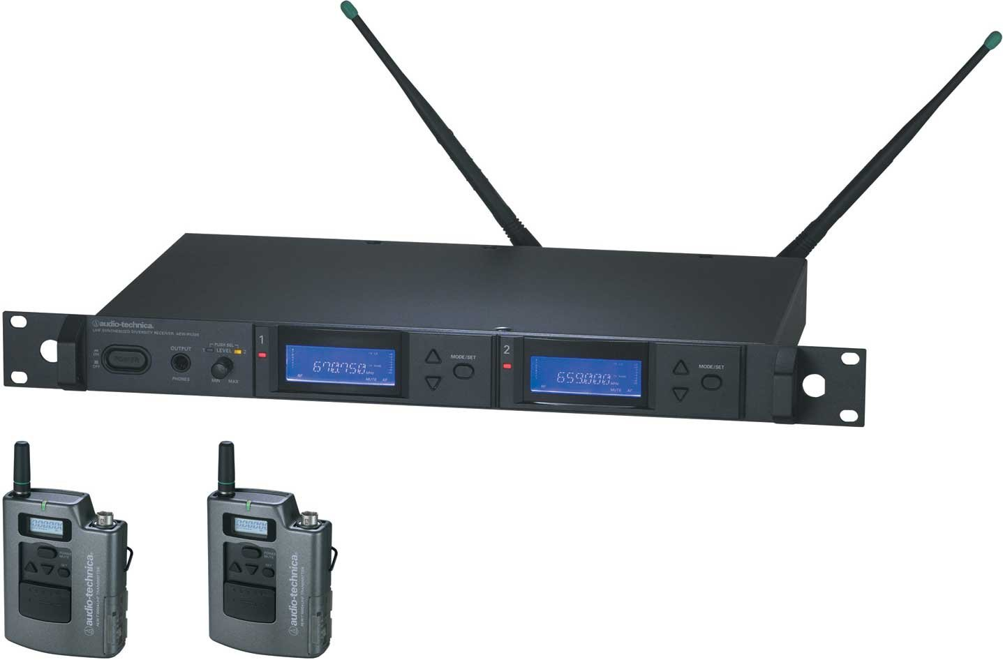 Dual Wireless Microphone Bodypack System, UHF Band C: 541.500 MHz to 566.375 MHz