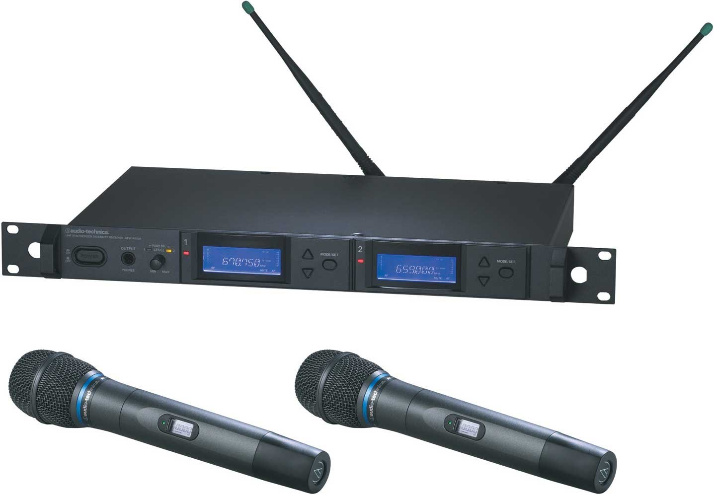 Dual Wireless Microphone Handheld System with 2 x AEW-T3300a Cardioid Condenser Mics, UHF Band C: 541.500 MHz to 566.375 MHz