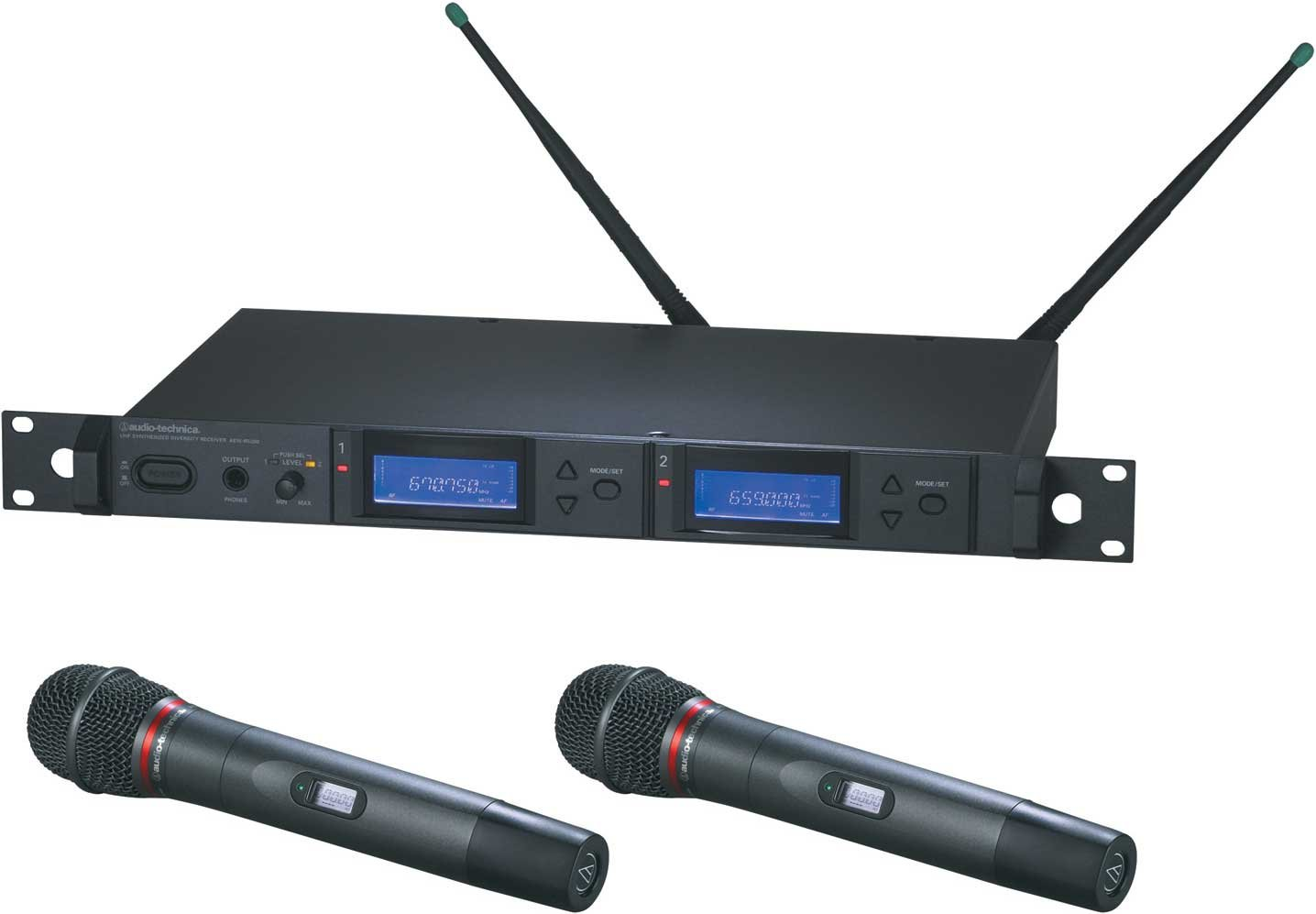 Dual Wireless Microphone Handheld System with 2 x AEW-T4100a Cardioid Dynamic Mics, UHF Band C: 541.500 MHz to 566.375 MHz