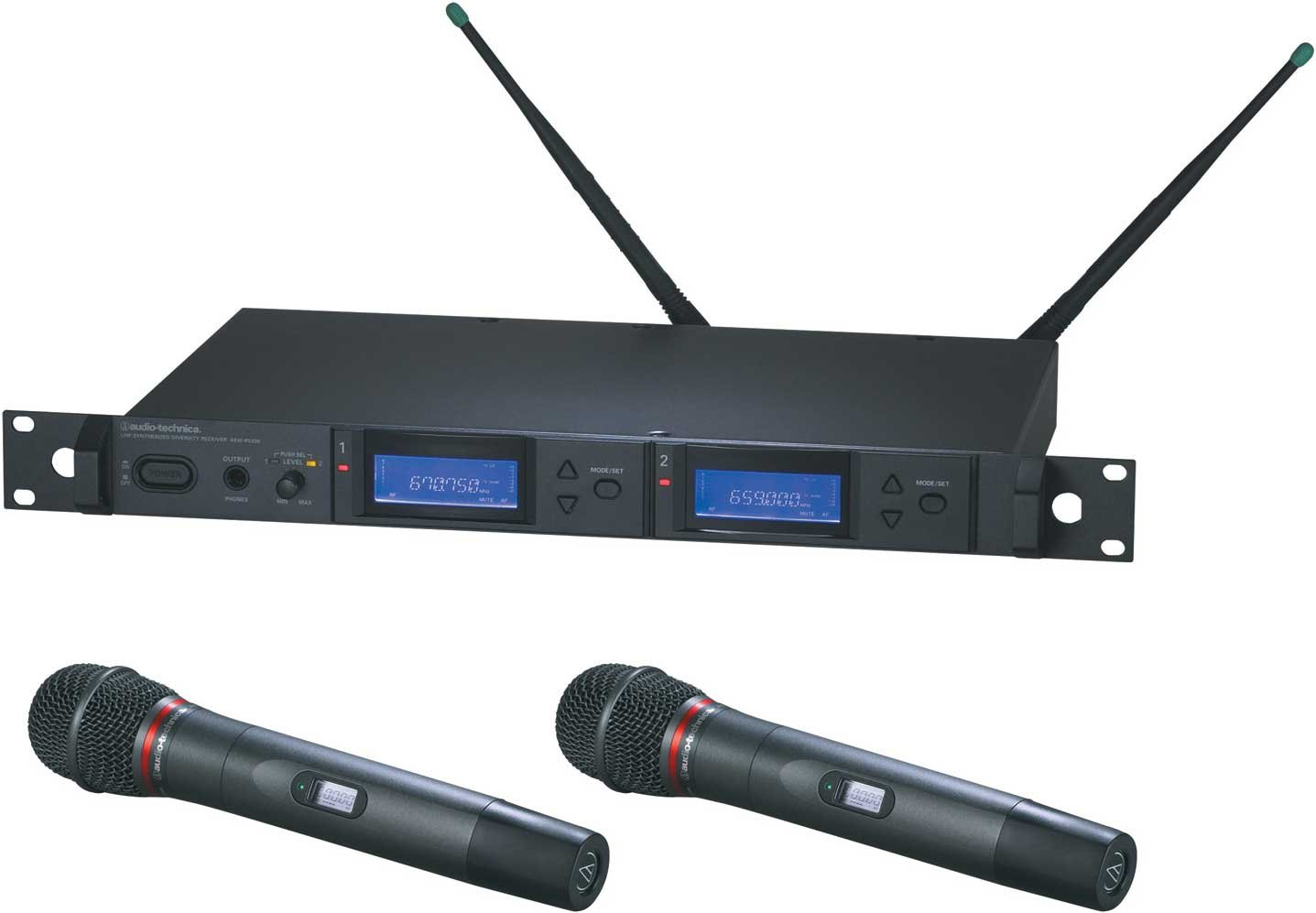 Dual Wireless Microphone Handheld System with 2 x AEW-T6100a Hypercardioid Dynamic Mics, UHF Band C: 541.500 MHz to 566.375 MHz