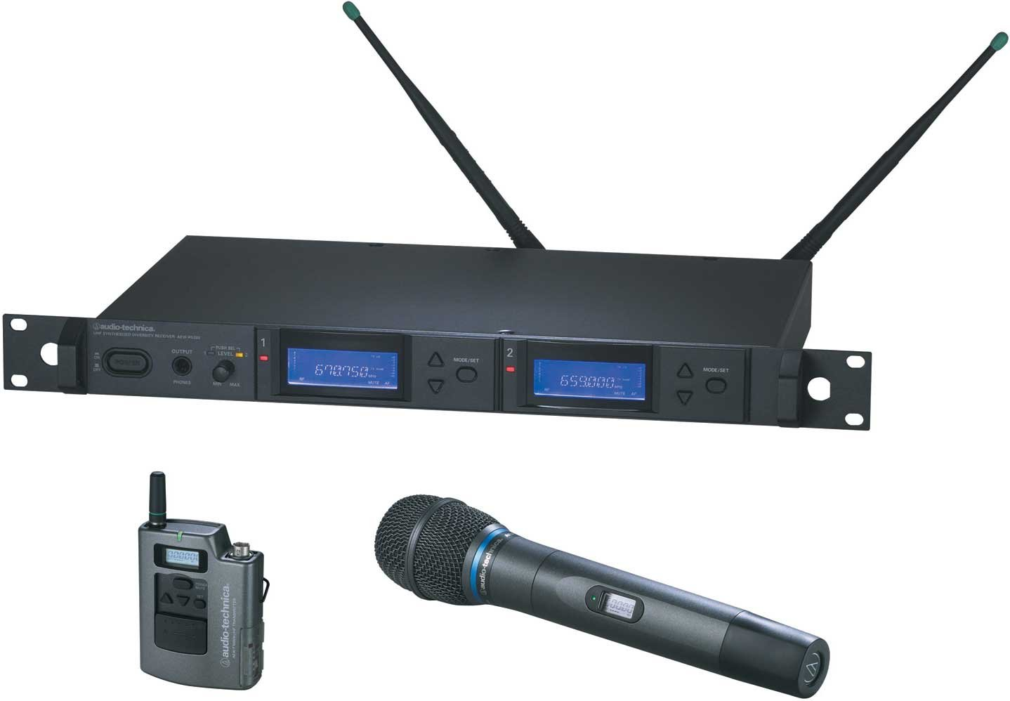 Dual Wireless Microphone System with Bodypack Transmitter & AEW-T5400a Cardioid Condenser Mic/Transmitter, UHF Band C: 541.500 MHz to 566.375 MHz