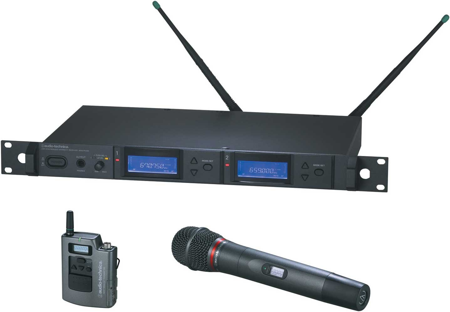 Dual Wireless Microphone System with Bodypack Transmitter & AEW-T6100a Hypercardioid Dynamic Mic/Transmitter, UHF Band C: 541.500 MHz to 566.375 MHz