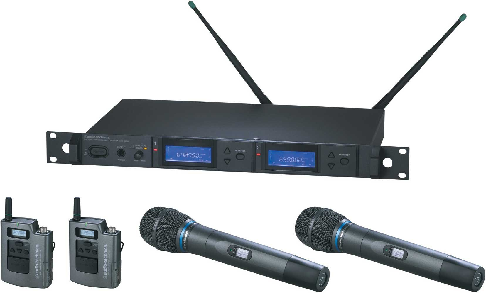 Wireless Mic Microphone System with 2 x Bodypack Transmitters & 2 x AEW-T3300a Cardioid Condenser Mic/Transmitter, UHF Band C: 541.500 MHz to 566.375 MHz