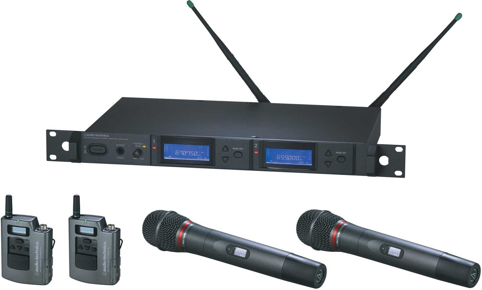 Wireless Microphone System with 2 x Bodypack Transmitters & 2 x AEW-T4100a Cardioid Dynamic Mic/Transmitter, UHF Band C: 541.500 MHz to 566.375 MHz