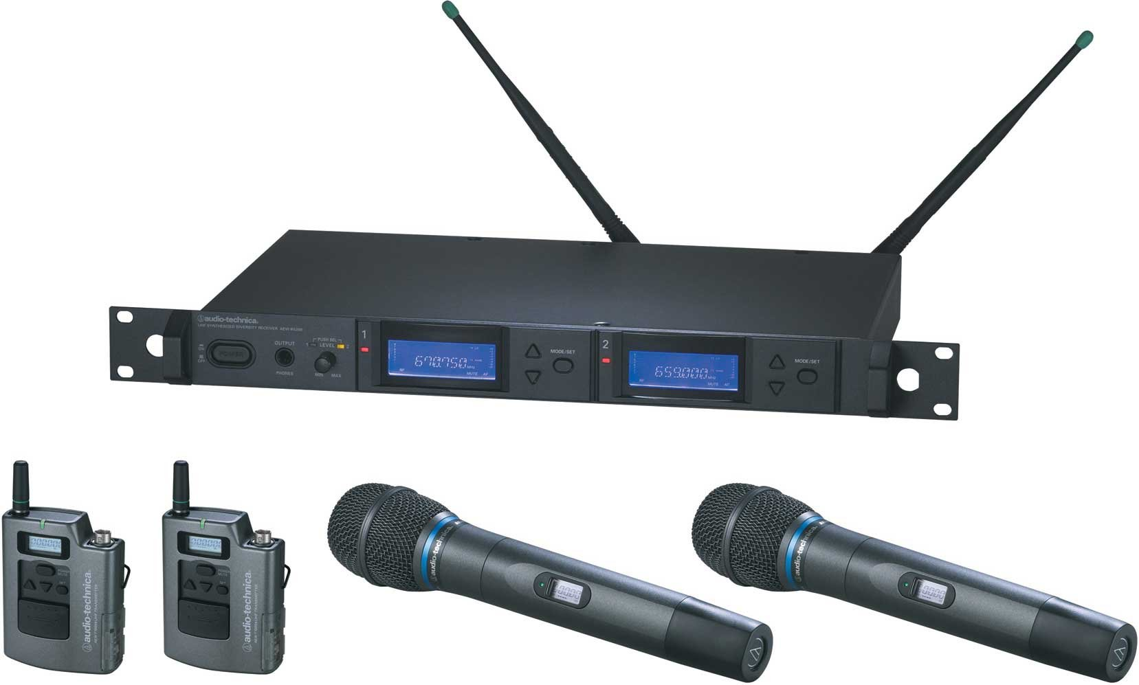 Wireless Microphone System with 2 x Bodypack Transmitters & 2 x AEW-T5400a Cardioid Condenser Mic/Transmitter, UHF Band C: 541.500 MHz to 566.375 MHz