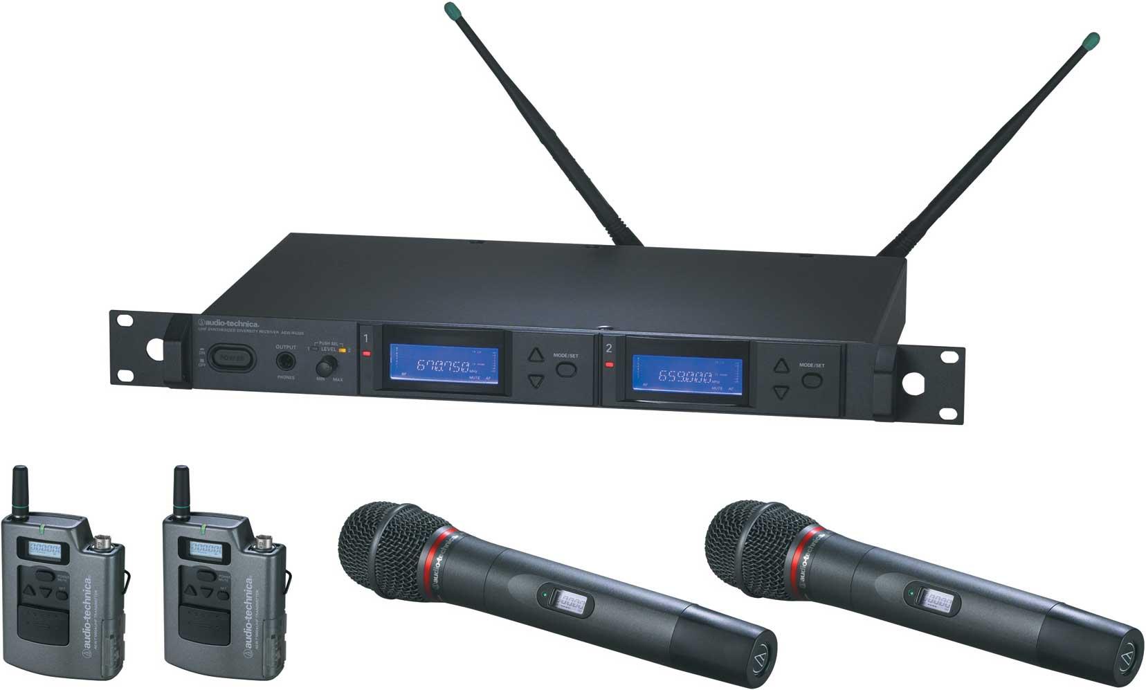 Audio-Technica AEW-5416AC Wireless Mic Microphone System with 2 x Bodypack Transmitters & 2 x AEW-T6100a Hypercardioid Dynamic Mic/Transmitter, UHF Band C: 541.500 MHz to 566.375 MHz AEW-5416AC
