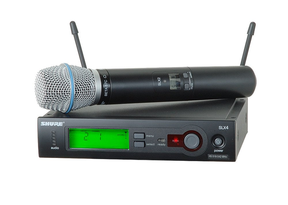 Wireless Microphone System with SLX2/BETA87C Microphone/Transmitter (Shown with SM58 Microphone Cartridge)