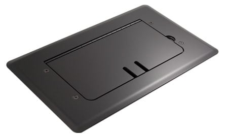 Black Self-Trimming Steel Floor Box with Cable Slots, WITHOUT Inserts