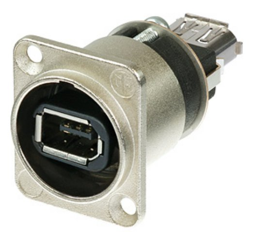 Firewire 6 Receptacle with Nickel D-Housing