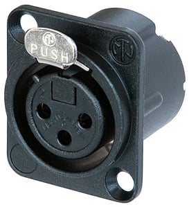 DLX Series 3-Pin XLR-F Panel-Mount Connector/Receptacle