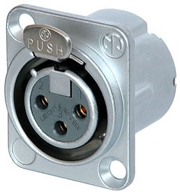 DLX Series 3-Pin XLR-F Panel-Mount Connector/Receptacle (with Solder Cups, Gold Contacts)