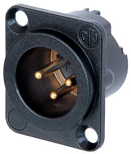 DLX Series 3-Pin XLR-M Panel-Mount Connector/Receptacle (with Solder Cups, Black Metal Housing, Gold Contacts)