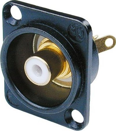 D-Series RCA Panel-Mount Jack (Black Housing, White Isolation Washer)
