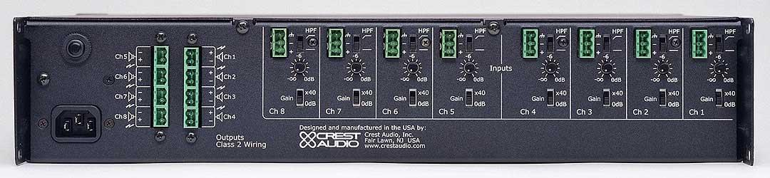 Power Amplifier, 220 Watts @ 8 ohms/70V, 8 Channels