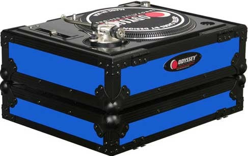 DJ CD Player/Turntable Case (Blue with Black Hardware)