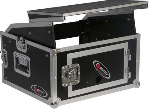 Flight Ready Series Combo Rack Case (10 RU Slanted, 4 RU Vertical, with Sliding Laptop Platform)