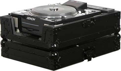 Black Label ATA Flight Case for Large Format CD Turntable/Player for DJs (with All-Black Hardware)