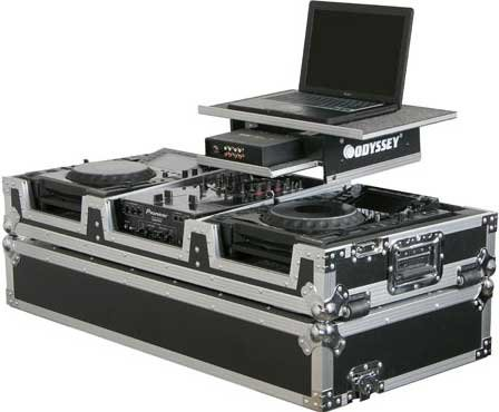 "Large-Format Glide Style DJ Coffin (for 10"" Mixers, 2 CD Turntables/Players, with Sliding Laptop Platform)"