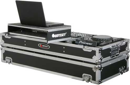 "Large Format Glide Style DJ Coffin (for 19"" Mixers, 2 CD Turntable/Players, with Sliding Laptop Platform)"
