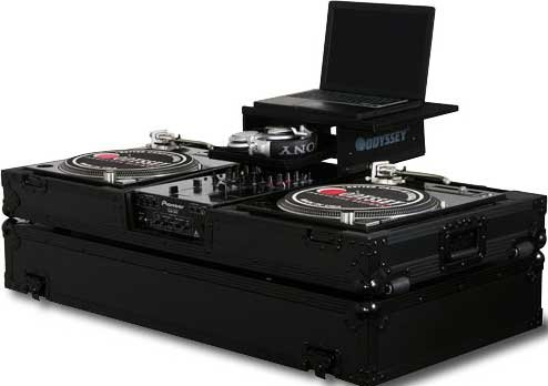 "Black Label Glide Style DJ Coffin (for 10"" Mixer & 2 Turntables, with Sliding Laptop Platform, All Black Hardware)"