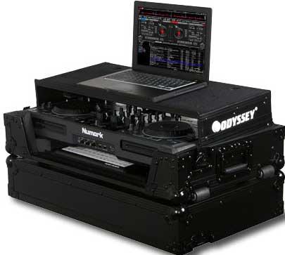 Black Label Series ATA Flight Case for Numark MIXDECK DJ Controller (with Sliding Laptop Platform, Keyboard Glide Tray, All Black Hardware)