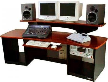 Audio/Video Workstation Desk (Maple Finish, 2x 12 RU Cabinets)